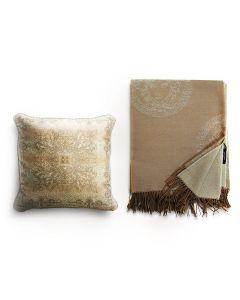 Плед и декоративная подушка бежевый