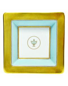 Мелочница CONTESSA INDACO голубая с золотом, 18х18 см