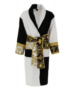 Халат махровый Barocco and Robe черно-белый