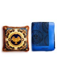 Плед и декоративная подушка синий